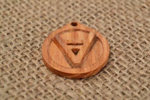Handmade unique carved wooden neck pendant Slavic amulet Veles - MADEheart.com