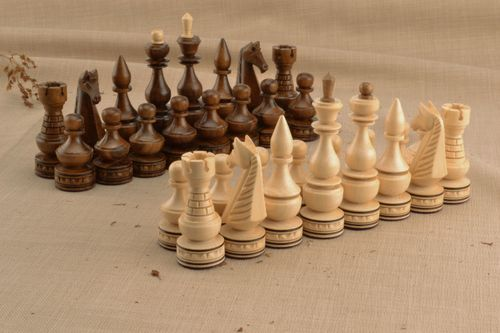 Wooden set of chess pieces - MADEheart.com