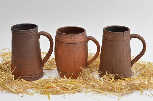 Handmade designer ceramic cups 3 clay mugs for beer stylish set of ware - MADEheart.com