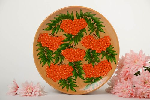 Beautiful bright handmade painted wooden wall plate with berries - MADEheart.com