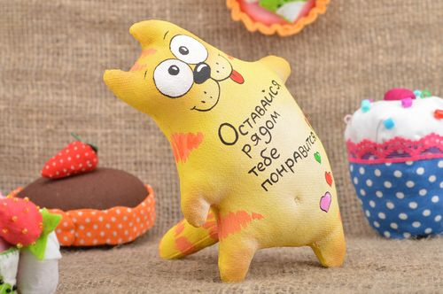 Homemade designer decorative soft toy sewn of painted cotton with lettering Cat - MADEheart.com