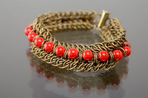Chainmail woven bracelet with red beads - MADEheart.com