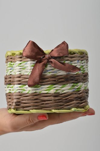 Unusual homemade woven basket handmade paper basket the living room gift ideas - MADEheart.com