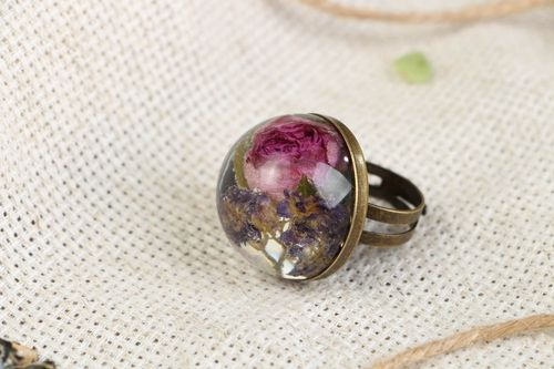 Ring with a real rose and wildflowers - MADEheart.com