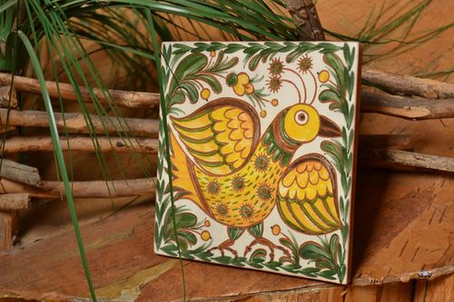Decorative tile hand-painted with natural dyes engobes handmade wall panel - MADEheart.com