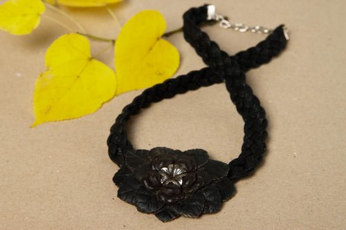 Leather necklace handmade flower jewelry designer accessories leather goods - MADEheart.com