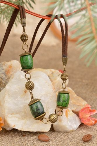 Unusual handmade designer metal necklace on cord with green beads - MADEheart.com