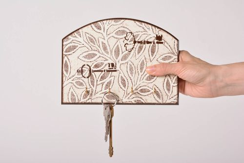 Wall wooden key holder with decoupage White Leaves handmade interior accessory - MADEheart.com