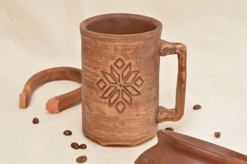 Clay cup handmade eco friendly mug with embossing interior kitchen pottery - MADEheart.com