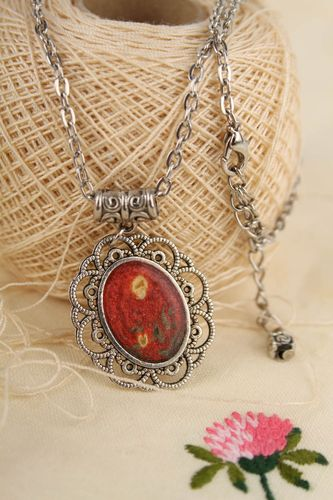 Vintage handmade metal pendant metal necklace cool neck accessories ideas - MADEheart.com