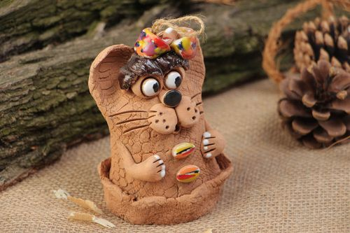 Handmade clay bell in the shape of mouse painted with acrylics - MADEheart.com