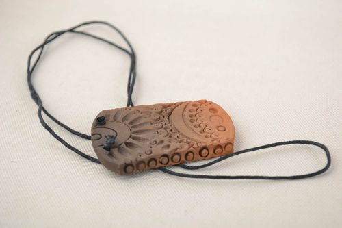 Beautiful unusual handmade long pendant made of red clay on lace - MADEheart.com
