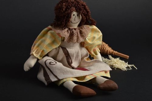 Handmade funny designer fabric soft doll girl in dress and apron for interior  - MADEheart.com