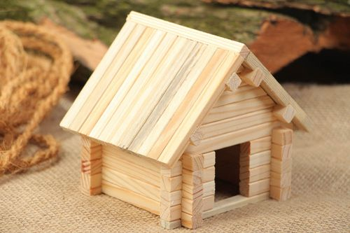 Wooden handmade meccano little house 53 details eco friendly toys for children - MADEheart.com