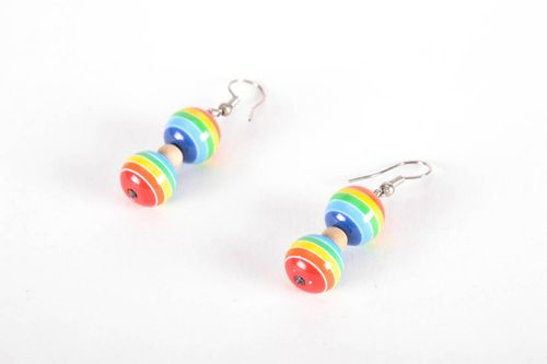 Multi-colored earrings made of polymer clay - MADEheart.com