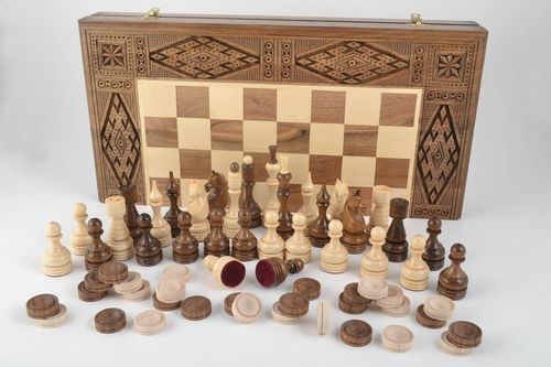 Handmade wooden chess stylish table games present for men cute designer chess - MADEheart.com