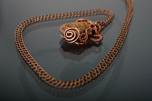Copper pendant with natural bronzite stone - MADEheart.com