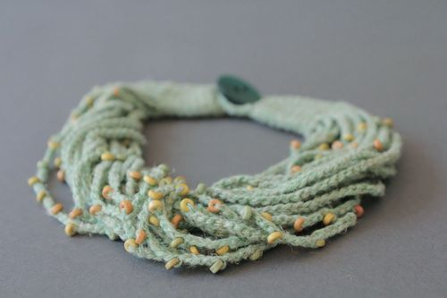 Linen necklace with ceramic beads - MADEheart.com