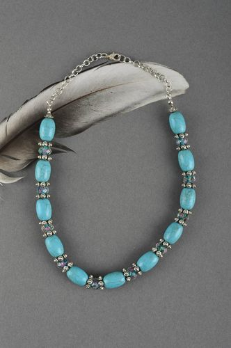 Designer turquoise necklace handmade unique bijouterie present for woman - MADEheart.com