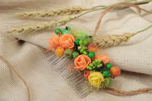Beautiful handmade hair comb with flowers berries and stamens - MADEheart.com