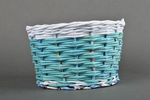 Stylish handmade woven basket paper basket newspaper craft home design - MADEheart.com