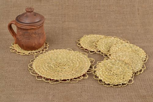 Set of handmade decorative drinking straw coasters 1 big and 6 small items - MADEheart.com
