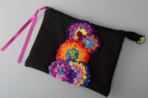 Handmade fabric cosmetic bag with ribbon embroidery - MADEheart.com