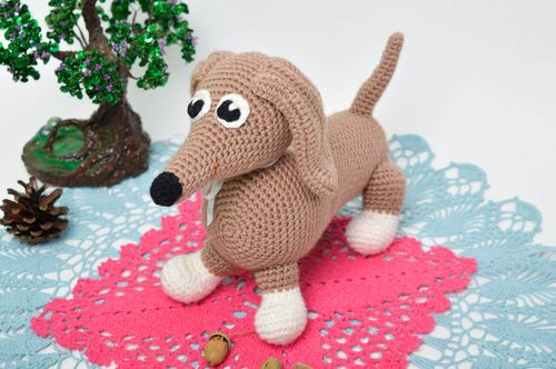 Handmade beautiful soft toy unusual textile cute toy collection dog toy - MADEheart.com