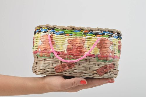 Paper handmade basket woven stylish basket unusual interior decoration - MADEheart.com