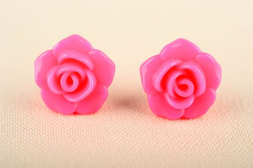 Handmade pink girlish earrings elegant plastic earrings designer accessory - MADEheart.com