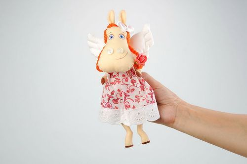 Fabric soft toy Horse Rose with wings - MADEheart.com