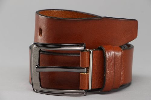 Broad belt of brown color for men - MADEheart.com