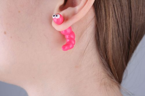 Homemade fake ear plugs Pink Caterpillar - MADEheart.com