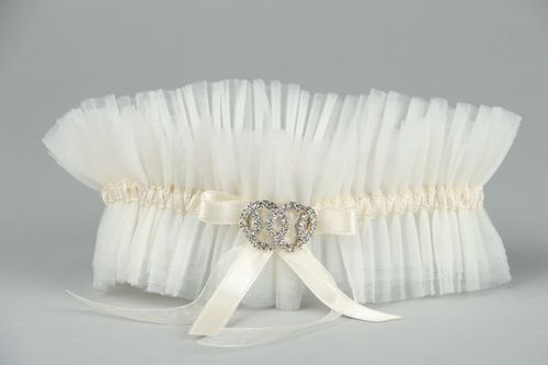 Garter for the bride with Austrian rhinestones - MADEheart.com