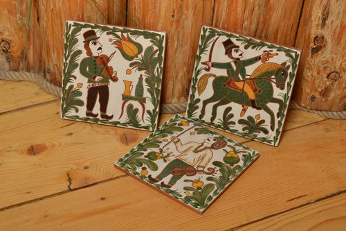 Set of handmade painted ceramic tiles 3 pieces beautiful wall panels - MADEheart.com