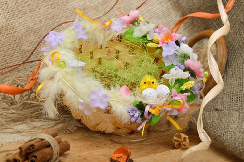 Unusual round handmade woven basket for Easter decor - MADEheart.com