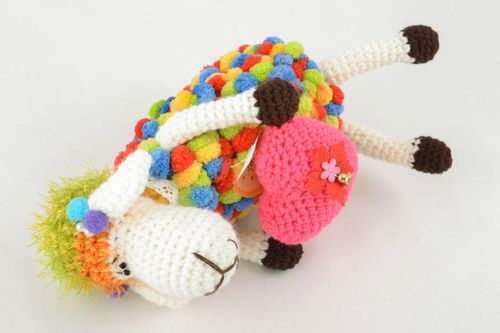 Soft crochet toy Sheep with Heart - MADEheart.com