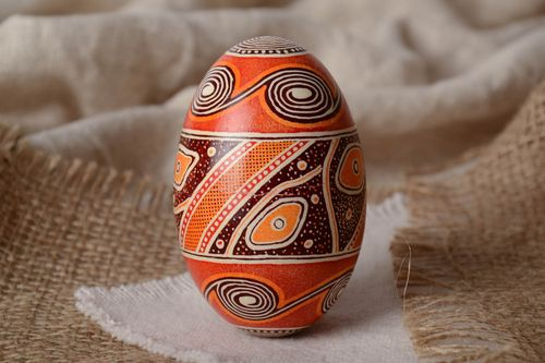 Handmade designer painted Easter goose egg decorated using waxing technique - MADEheart.com