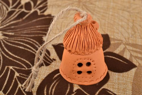 Handmade designer ceramic bell brown molded home figurine interior wall pendant - MADEheart.com