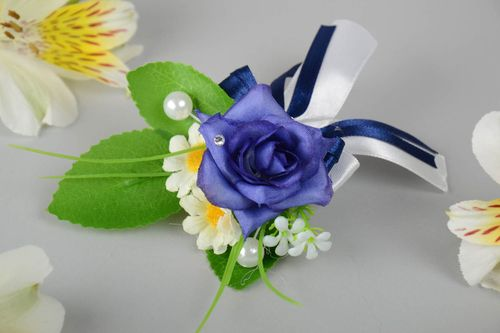 Beautiful designer handmade boutonniere for groom with flowers and beads - MADEheart.com