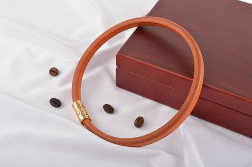 Beautiful handmade leather bracelet leather necklace leather goods small gifts - MADEheart.com