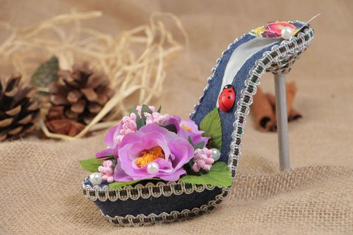 Decorative handmade shoe with flowers home interior decor colored topiary  - MADEheart.com