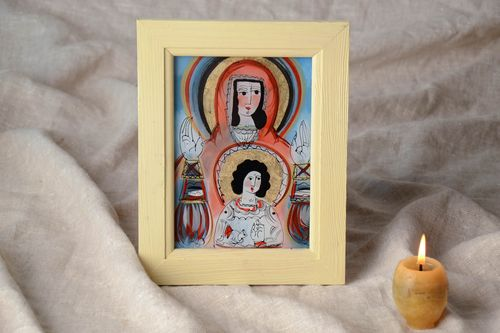 Unusual icon of the Virgin Mary with the Child - MADEheart.com