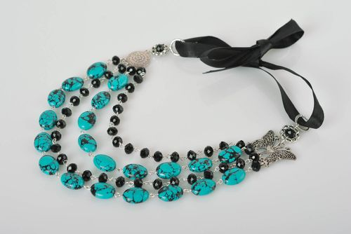 Stylish handmade beaded necklace glass art beautiful jewellery for girls - MADEheart.com