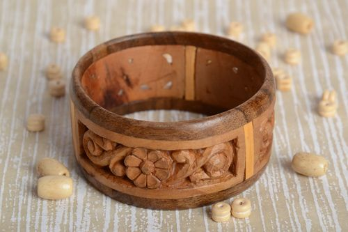 Two colored handmade wide wooden wrist bracelet with intarsia for women - MADEheart.com