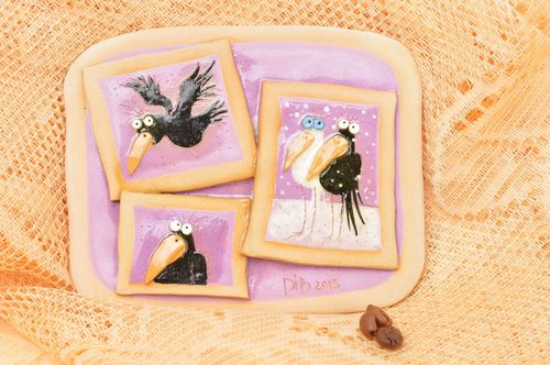 Beautiful handmade fridge magnet pottery works decorative clay magnet - MADEheart.com