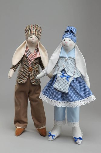 Set of fabric soft toys Rabbits - MADEheart.com