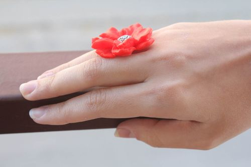 Polymer clay ring Flower - MADEheart.com