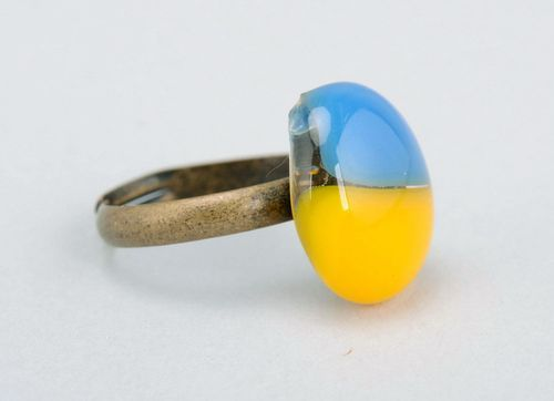 Ring made of fused glass Ukrainian Flag - MADEheart.com