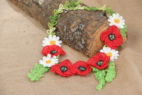 Handmade beautiful hand-crochet necklace with daisies and poppies  - MADEheart.com